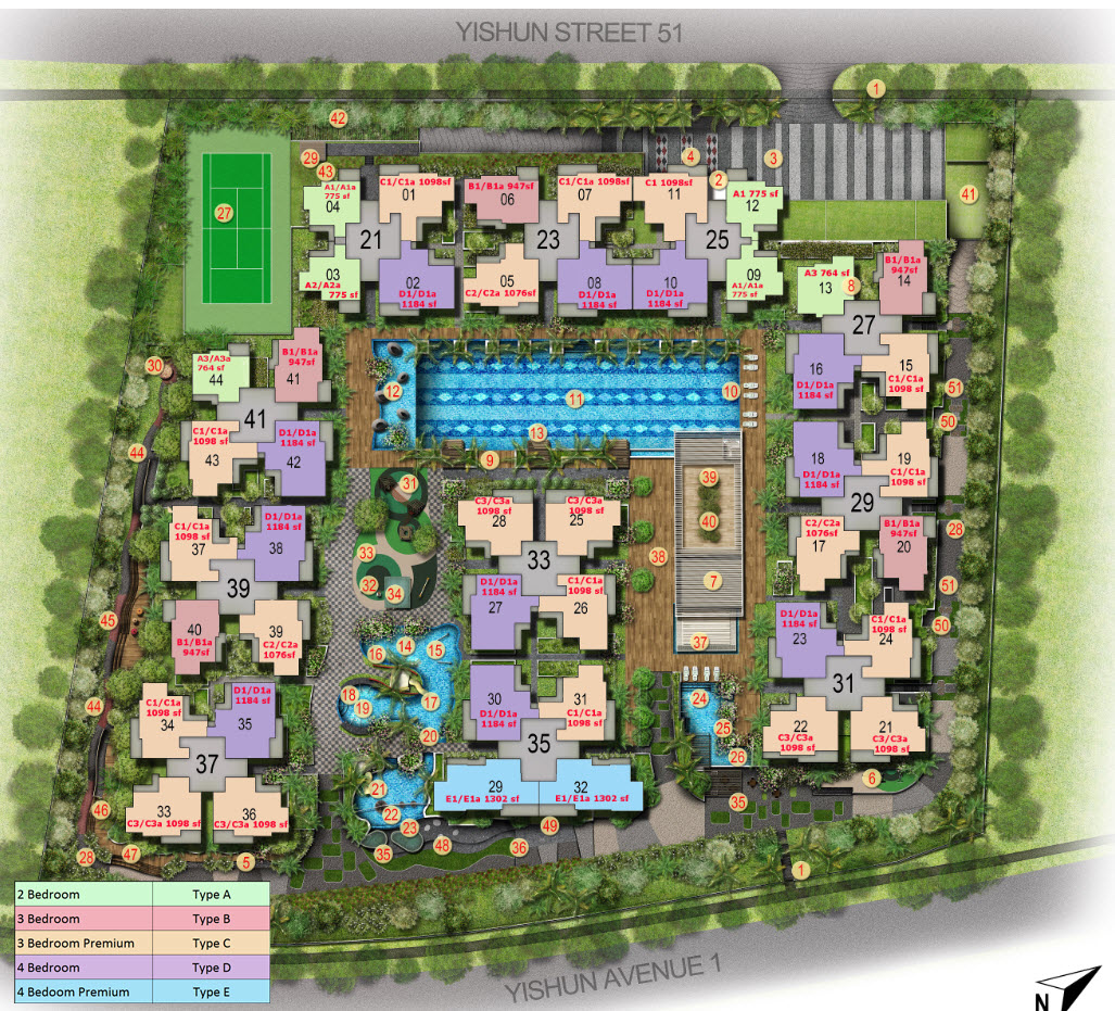 Floor Plans With Courtyard Signature At Yishun Site Plan